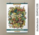 doodles cartoon colorful school ...   Shutterstock .eps vector #304941338