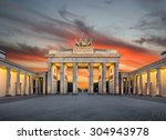 Stock photo panoramic view of famous brandenburger tor brandenburg gate one of the best known landmarks and 304943978
