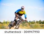 cyclist riding the mountain... | Shutterstock . vector #304947950