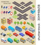 isometric road set. vector | Shutterstock .eps vector #304948658