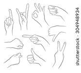 human gestures. people hand... | Shutterstock .eps vector #304948934