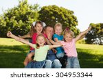 disabled father with children... | Shutterstock . vector #304953344
