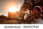 woman in the vintage dress is... | Shutterstock . vector #304957940