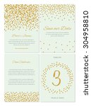 confetti wedding invitation set ... | Shutterstock .eps vector #304958810