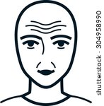 face with wrinkles. old... | Shutterstock .eps vector #304958990