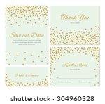 trendy wedding invitation set... | Shutterstock .eps vector #304960328