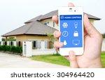 hand holding white mobile smart ...   Shutterstock . vector #304964420