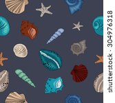 seashells seamless on dark. | Shutterstock .eps vector #304976318