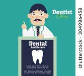 dentist with black billboard.... | Shutterstock .eps vector #304986458