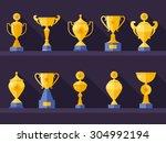 vector flat golden goblet  icon ... | Shutterstock .eps vector #304992194