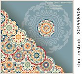 card with ornament corner of... | Shutterstock .eps vector #304998908