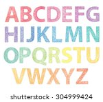 full abc made with threads on... | Shutterstock .eps vector #304999424