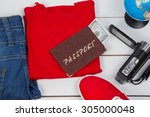 passport and other stuff for... | Shutterstock . vector #305000048