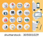 modern flat icons  with long... | Shutterstock .eps vector #305001029