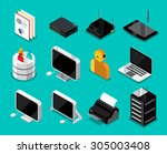 isometric technology device set.... | Shutterstock .eps vector #305003408