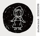 dutch woman doodle | Shutterstock .eps vector #305005598