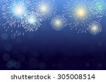 brightly colorful fireworks... | Shutterstock .eps vector #305008514