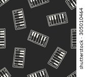 piano doodle seamless pattern... | Shutterstock .eps vector #305010464