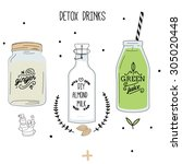 detox fat flush drinks  ginger... | Shutterstock .eps vector #305020448