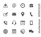 contact us icons. simple flat... | Shutterstock .eps vector #305023220