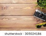 camera  sunglasses and flower... | Shutterstock . vector #305024186