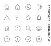 basic interface line icons for...
