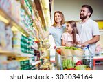 happy family choosing dairy... | Shutterstock . vector #305034164