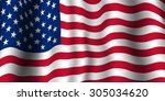 united states  usa  flag waving.... | Shutterstock .eps vector #305034620