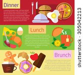 set of flat design concepts of... | Shutterstock .eps vector #305042213