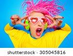 crazy expressive trendy dj girl ...   Shutterstock . vector #305045816