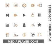 media  audio player flat icons  ...