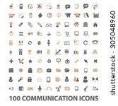 100 communication  technology... | Shutterstock .eps vector #305048960
