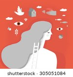 girl on psychotherapy. dream... | Shutterstock .eps vector #305051084