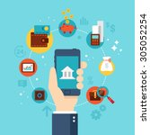 mobile banking concept. flat... | Shutterstock .eps vector #305052254