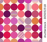 seamless circle dots with... | Shutterstock .eps vector #305052518