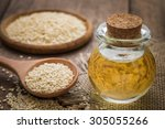 Sesame Oil In Glass Jar And...