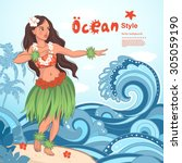 vector retro style hawaiian... | Shutterstock .eps vector #305059190