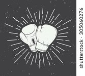 boxing gloves in vintage style. ... | Shutterstock .eps vector #305060276