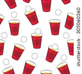Beer Pong Vector Pattern. Red...