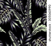tropic plants floral seamless...   Shutterstock .eps vector #305060990