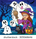 cute witch and cat with ghosts... | Shutterstock .eps vector #305068646