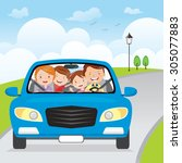 family driving in car on... | Shutterstock .eps vector #305077883
