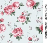 Stock vector vintage floral seamless background with blooming english roses vector watercolor illustration 305078393