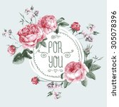 Stock vector vintage watercolor round frame with blooming english roses for you with place for your text 305078396