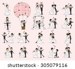 set of wedding pictures  bride... | Shutterstock .eps vector #305079116