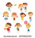 cute little kids | Shutterstock .eps vector #305082050