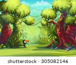illustration sunny morning in... | Shutterstock .eps vector #305082146