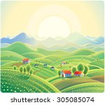 Summer Rural Landscape With...