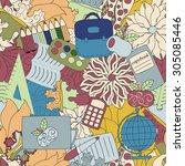 seamless school pattern.... | Shutterstock .eps vector #305085446