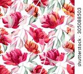 seamless tropical flower  plant ... | Shutterstock . vector #305088503